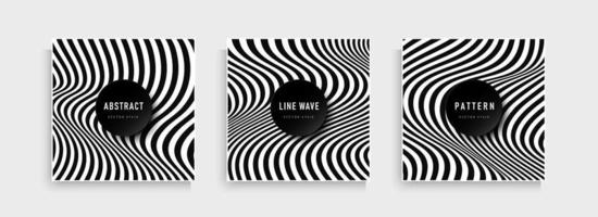 Set of abstract stripes lines black and white contrast background.. vector