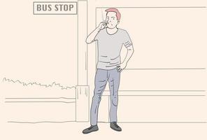 hombres que fuman en lugares publicos vector