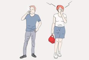 hombres que fuman en lugares públicos. una mujer que se tapa la nariz por el humo del cigarrillo. ilustraciones de diseño de vectores de estilo dibujado a mano.