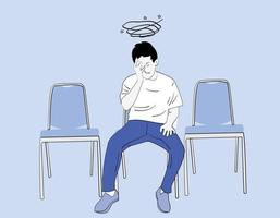 Depressed man sitting on a chair. vector