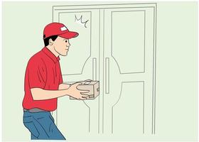 Delivery man with red shirt holding a package. vector