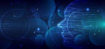 Abstract futuristic face concept artificial intelligence background. vector