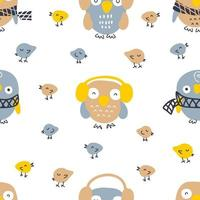 Hand drawn winter seamless pattern with owls and small birds. vector