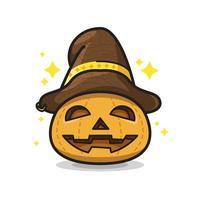 Pumpkin with Hat Halloween Cute Line Art Illustration vector