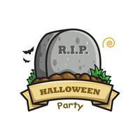 Tombstone Halloween Cute Line Art Illustration vector
