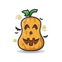 Happy Pumpkin Halloween Cute Line Art Illustration vector