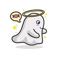 Adorable Ghost Halloween Cute Line Art Illustration vector