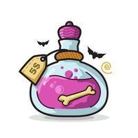 Bone Potion Bottle Halloween Cute Line Art Illustration vector