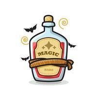 Magic Potion Bottle Halloween Cute Line Art Illustration vector