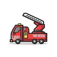 Fire Rescue Department Vehicle Line Art Cartoon Illustration vector