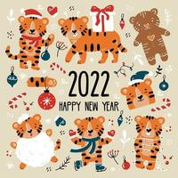 New Year and Christmas funny tiger cubs set in Santa Claus costumes. vector