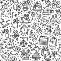 New Year and Christmas seamless pattern in doodle sketch style vector