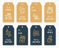 New Year and Christmas gift paper labels and tags with vector icons