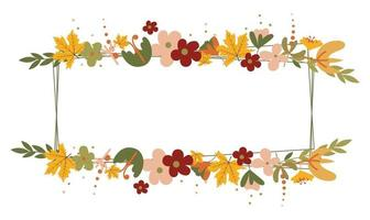 Autumn frame with autumn leaves and floral elements in fall colors. vector