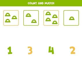 Counting game with cute rulers. Math worksheet. vector