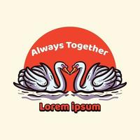 Twin Swan Illustration Cartoon vector
