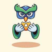 Cute Owl With Doughnut vector