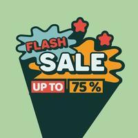 Flash Sale discount banner vintage style vector