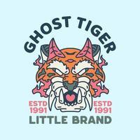 Ghost Tiger Illustration Character vintage Design retro vector