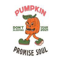 Pumpkin Walking Illustration vector
