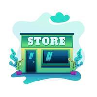 Building store illustration flat design modern vector