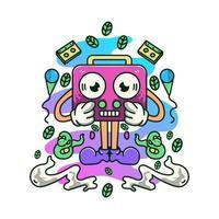 Retro radios Music Doodle Illustration Mascot Logo Character vector