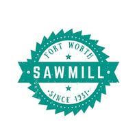 Sawmill logo, retro emblem in vintage style vector
