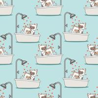 Seamless cats are bathing pattern vector