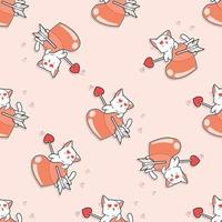 Seamless cat is falling love pattern vector