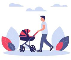 Happy young dad walks with a baby stroller. Vector illustration.