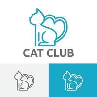 Cute Cat Lover Heart Shape Tail Abstract Animal Logo vector