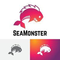 Sea Monster Fish Water Predator Logo Symbol vector