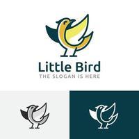 Little Cute Bird Happy Fun Cartoon Character Logo vector