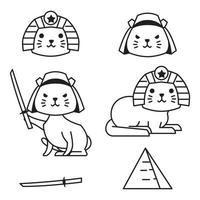 Cute Cat Japan Egypt Outline Monoline Line Doodle Style Illustration vector