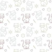 Cat Face Mask Health Vaccine Seamless Pattern Texture Background vector