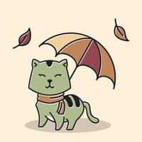 Cat Scarf Standing Smiling Umbrella Autumn Fall Season Cartoon vector