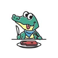 Crocodile Alligator Eating Meat Funny Cute Character Cartoon Mascot vector