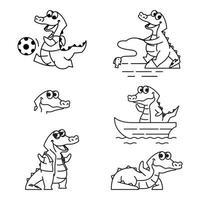 Crocodile Alligator Funny Cute Character Cartoon Mascot Vector