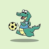 Crocodile Alligator Football Soccer Sport Funny Cute Character vector