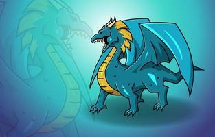Blue Dragon Wings Fantasy Mythology Monster Legend Creature vector