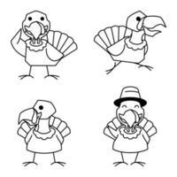 Turkey Bird Rooster Autumn Fall Thanksgiving Character Cartoon Line vector