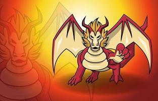 Red Dragon Wings Fantasy Mythology Monster Legend Creature vector