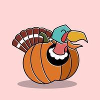 Happy Turkey Bird Rooster Inside Pumpkin Thanksgiving Character vector