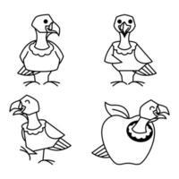 Turkey Bird Female Autumn Fall Thanksgiving Character Cartoon Line Art vector