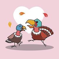 Happy Dancing Turkey Bird Couple Autumn Fall Thanksgiving Character vector
