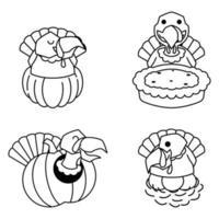 Turkey Autumn Fall Pumpkin Pie Egg Thanksgiving Cartoon Line Art vector