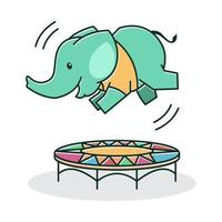 Cute Baby Elephant Happy Friendly Playing Jumping Trampoline Cartoon Character vector