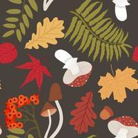 Autumn Seamless pattern with rowan twig, yellowed leaves, mushrooms vector