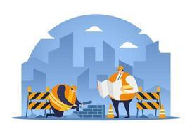 Trabajador de la construcción apilando ladrillos escuchar las instrucciones del arquitecto. vector