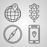 Navigation and Maps Icon Collection White Color Background vector